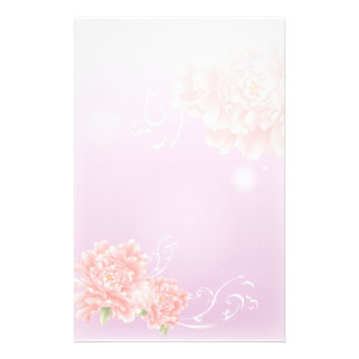 girly purple peony swirls vintage floral customized stationery