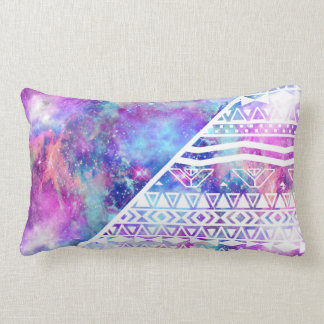 Girly Purple Pink Nebula Space White Tribal Aztec Lumbar Pillow
