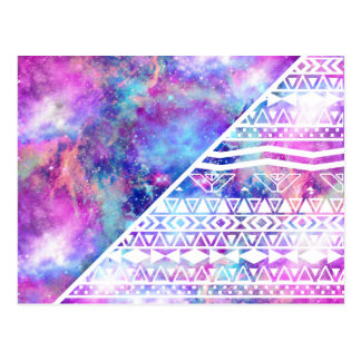 Girly Purple Pink Nebula Space White Tribal Aztec Postcard