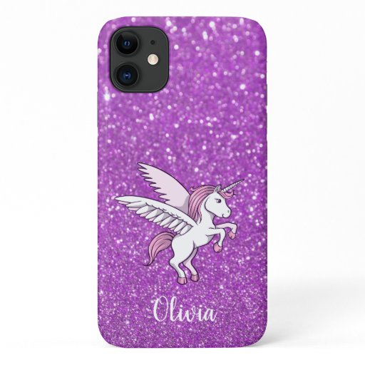 Girly Purple Pink Sparkle Unicorn Personalized iPhone 11 Case