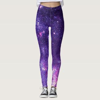 Girly Purple Pink White Galaxy Nebula Space Leggings