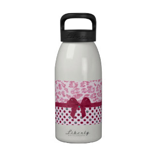 Girly Purple Ribbon Bow Pink Leopard Polka Dots Reusable Water Bottles