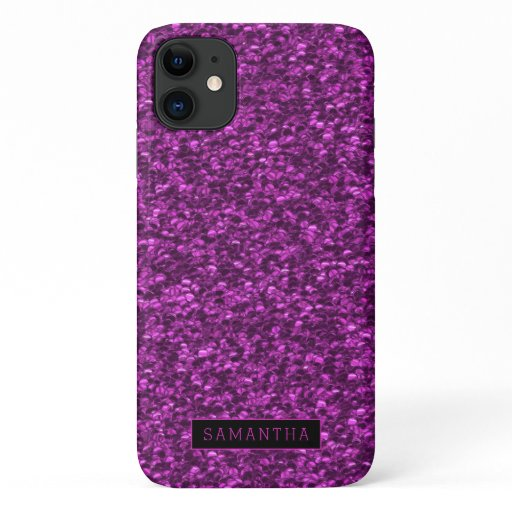 Girly Purple Sparkle Sequins Monogram iPhone 11 Case