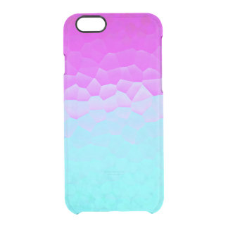 Girly Purple Turquoise Ombre Mosaic Bokeh Pattern Clear iPhone 6/6S Case