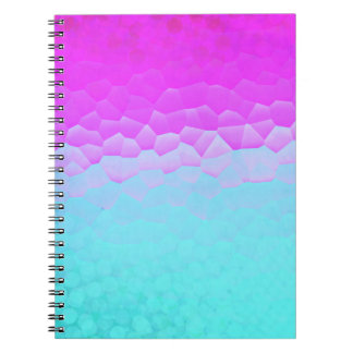 Girly Purple Turquoise Ombre Mosaic Bokeh Pattern Spiral Notebook