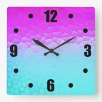 Girly Purple Turquoise Ombre Mosaic Bokeh Pattern Square Wall Clock