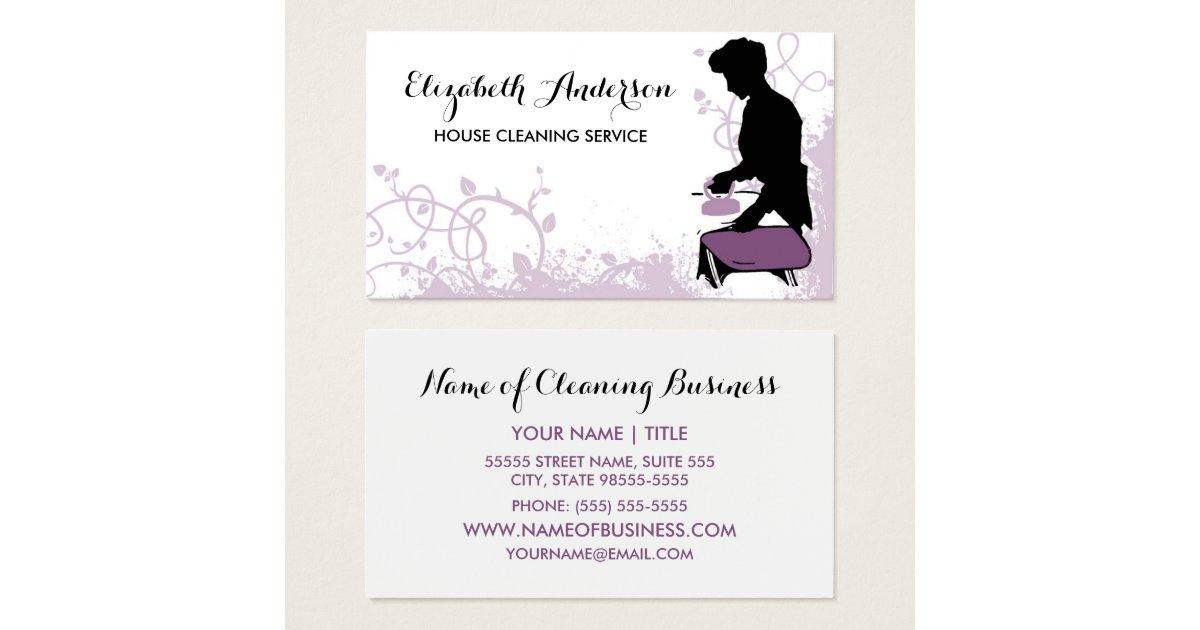 Girly Purple Vintage Maid Silhouette Housekeeping Business Card ...