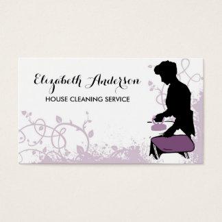 Girly Purple Vintage Maid Silhouette Housekeeping Business Card
