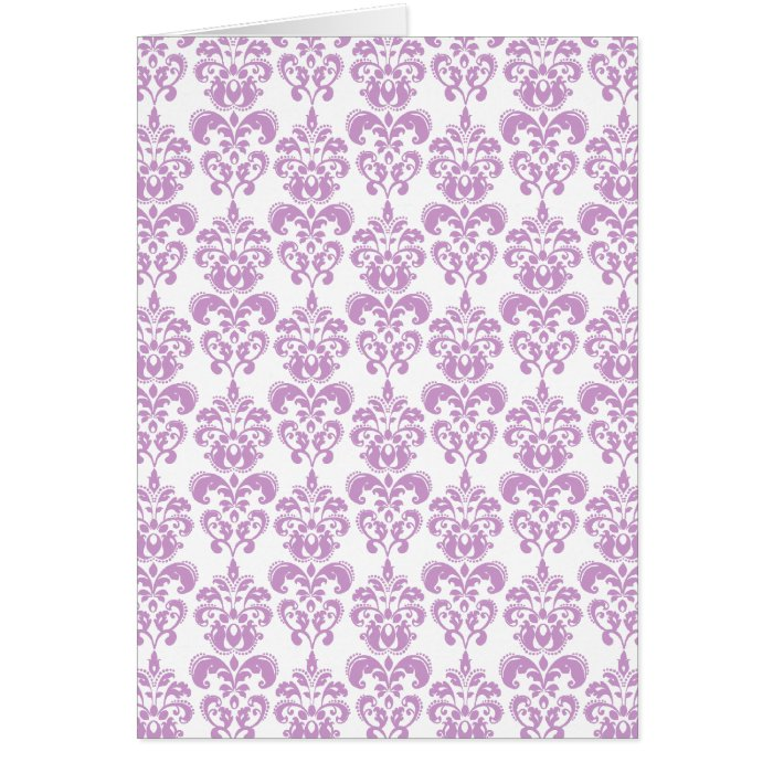 Girly Purple White Vintage Damask Pattern 2 Card