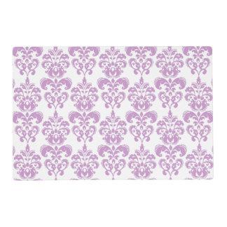Girly Purple White Vintage Damask Pattern 2 Placemat