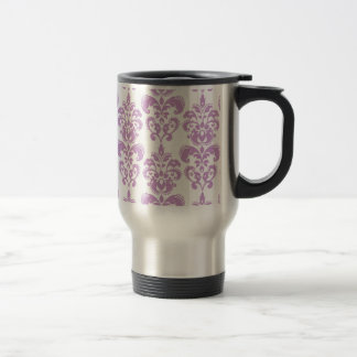 Girly Purple White Vintage Damask Pattern 2 Travel Mug