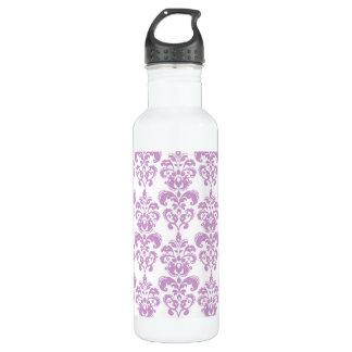 Girly Purple White Vintage Damask Pattern 2 Water Bottle