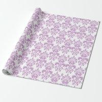 Girly Purple White Vintage Damask Pattern 2 Wrapping Paper