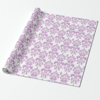 Girly Purple White Vintage Damask Pattern 2 Wrapping Paper