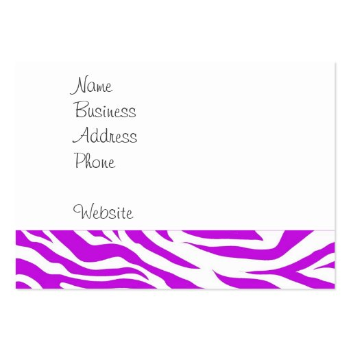Zebra print business card templates page5 bizcardstudio girly purple white zebra stripes wild animal print business card template reheart Images