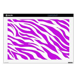 "Girly Purple White Zebra Stripes Wild Animal Print Decal For 17"" Laptop"