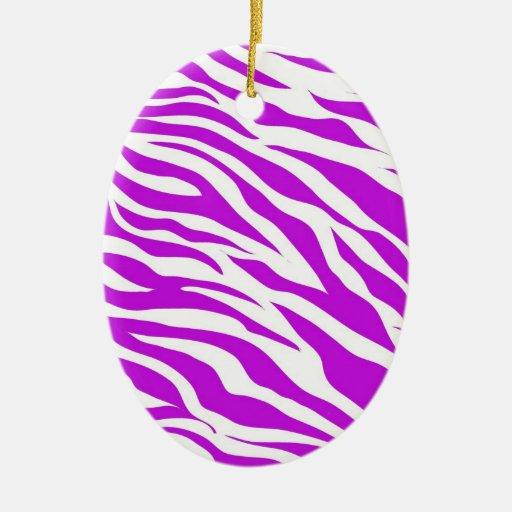 Girly Purple White Zebra Stripes Wild Animal Print Double-Sided Oval Ceramic Christmas Ornament