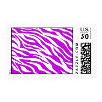Girly Purple White Zebra Stripes Wild Animal Print Postage