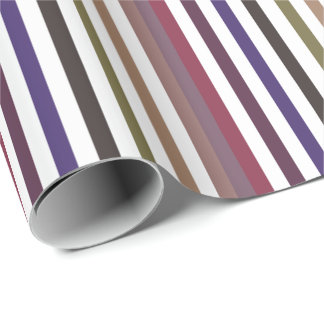Girly Purple Wide Horizontal Stripes Pattern Wrapping Paper