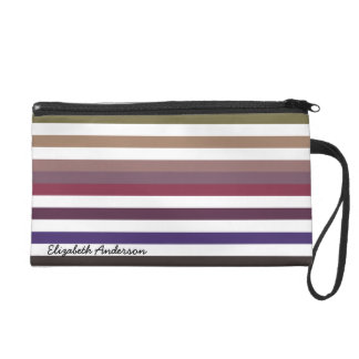 Girly Purple Wide Horizontal Stripes With Name Wristlet Purse