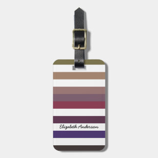 Girly Purple Wide Horizontal Stripes With Name Bag Tag