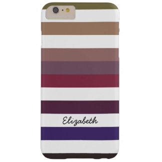 Girly Purple Wide Horizontal Stripes With Name Barely There iPhone 6 Plus Case