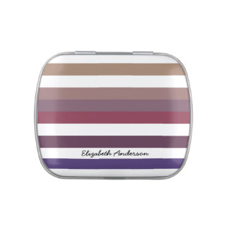 Girly Purple Wide Horizontal Stripes With Name Jelly Belly Candy Tins