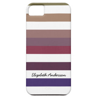 Girly Purple Wide Horizontal Stripes With Name iPhone 5 Cover