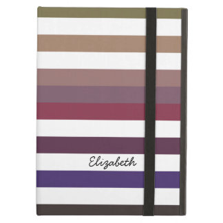 Girly Purple Wide Horizontal Stripes With Name Case For iPad Air