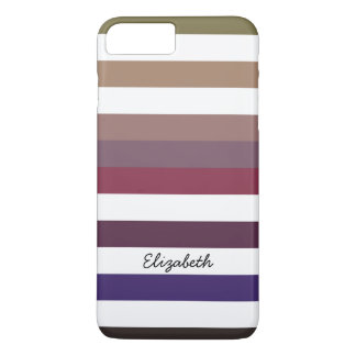 Girly Purple Wide Horizontal Stripes With Name iPhone 7 Plus Case