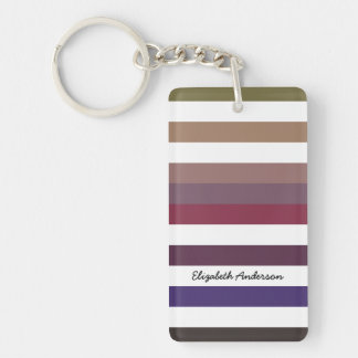 Girly Purple Wide Horizontal Stripes With Name Rectangular Acrylic Key Chains