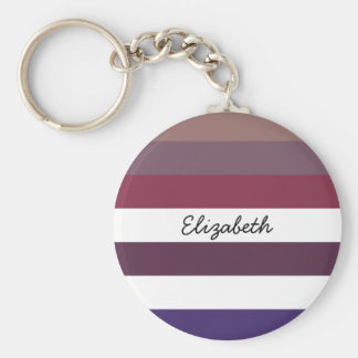 Girly Purple Wide Horizontal Stripes With Name Keychains