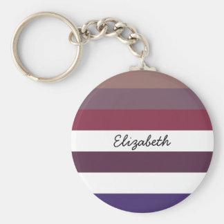 Girly Purple Wide Horizontal Stripes With Name Keychain