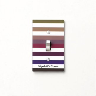 Girly Purple Wide Horizontal Stripes With Name Light Switch Plate