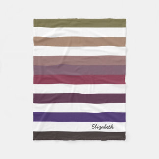 Girly Purple Wide Horizontal Stripes With Name Fleece Blanket