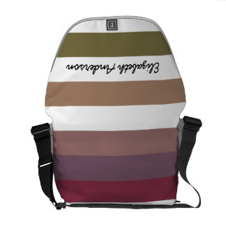 Girly Purple Wide Horizontal Stripes With Name Courier Bag