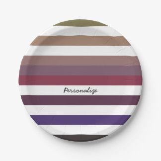 Girly Purple Wide Horizontal Stripes With Name 7 Inch Paper Plate