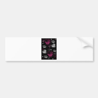 Girly Queen of hearts Bumper Sticker