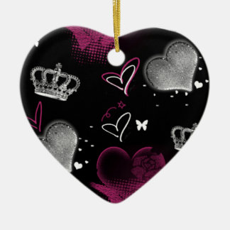 Girly Queen of hearts Ceramic Ornament