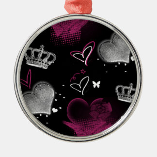Girly Queen of hearts Metal Ornament