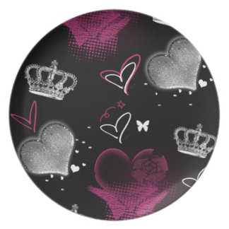 Girly Queen of hearts Dinner Plate
