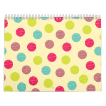 Girly Rainbow Dots Colorful Pink Purple Circles Calendar