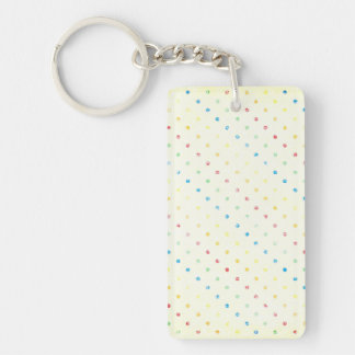 Girly Rainbow Dots Vintage Rustic Yellow Polka dot Keychain
