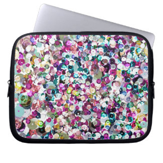 Girly Rainbow Faux Sequins Bling Laptop Sleeve