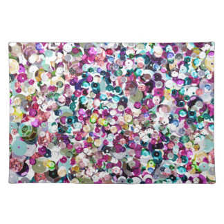 Girly Rainbow Faux Sequins Bling Placemat