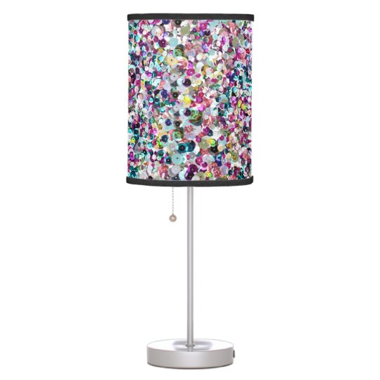 Girly Lamps For Bedroom: Girly Rainbow Faux Sequins Bling Table Lamp