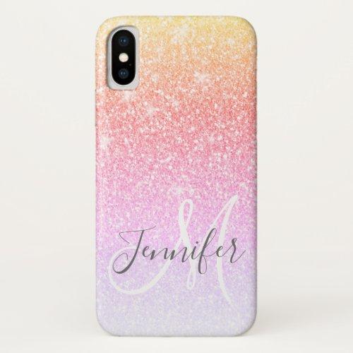 Girly Rainbow Glitter Sparkles Monogram Name Phone Case