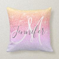 Girly Rainbow Pink Sparkle Glitter Monogram Name Throw Pillow