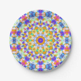 Girly Rainbow Retro Mod Flower Daisy Chain Pattern Paper Plate
