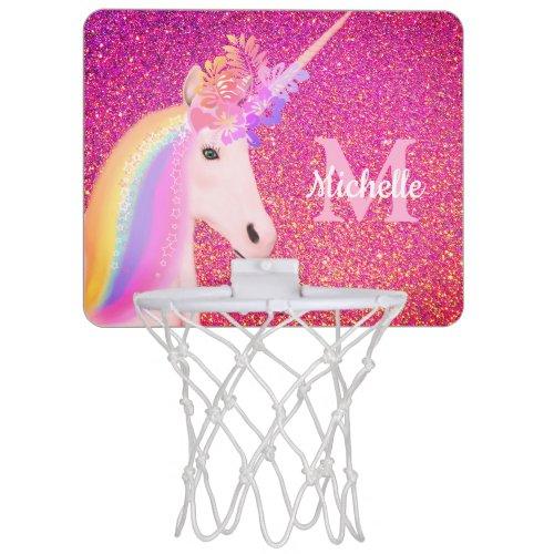 Girly Rainbow Unicorn Pink Glitter Personalized Mini Basketball Hoop